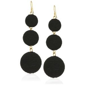 Black Dangling Ball Earrings Gold Accents